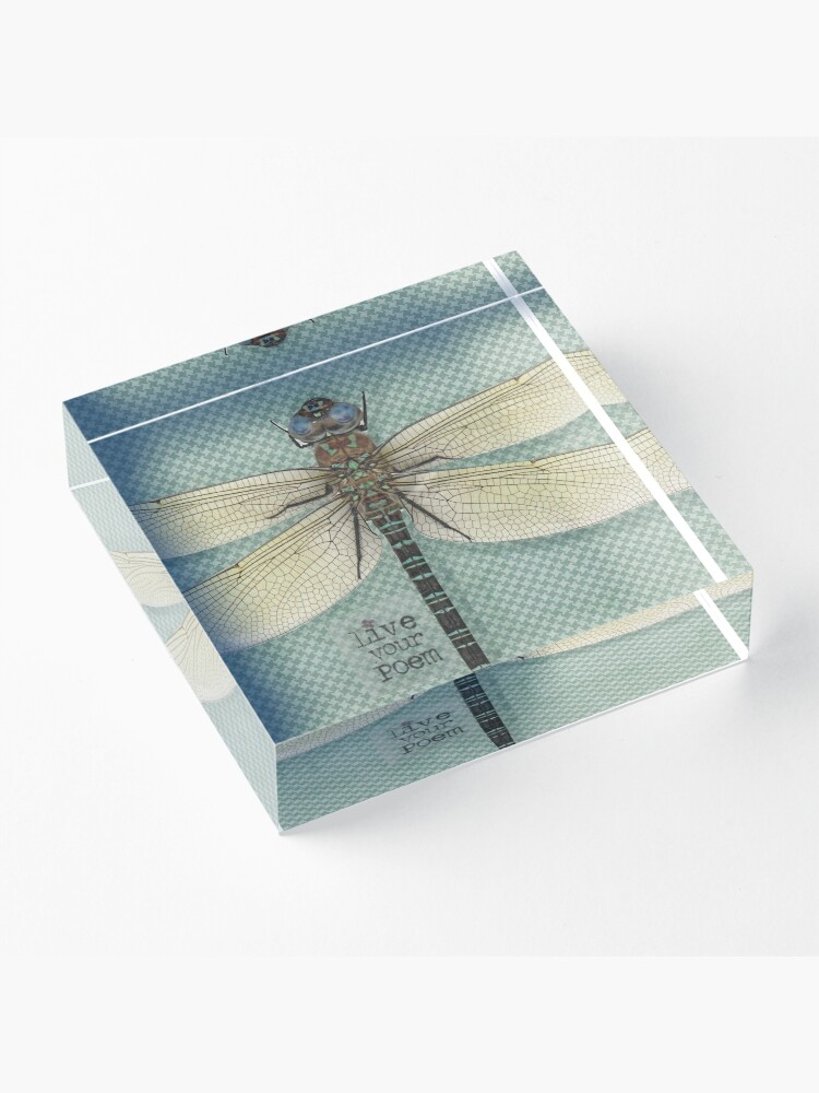 Alternate view of Dragonfly mixed media poem quote Acrylic Block