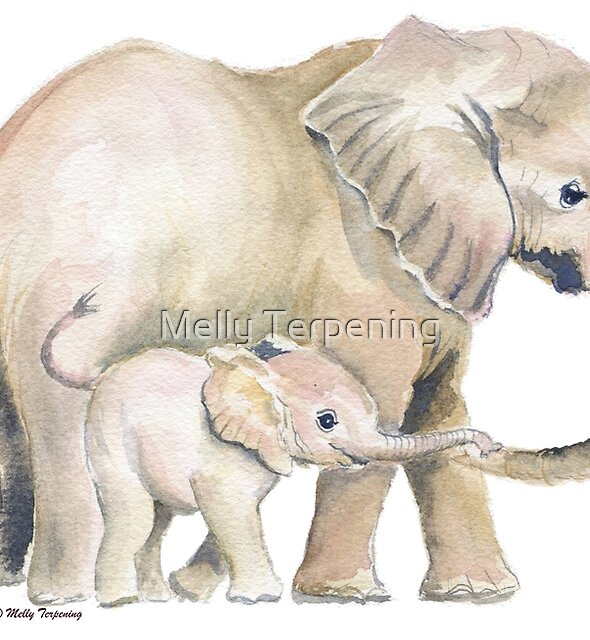 Mom and Baby Elephant 2 by Melly Terpening