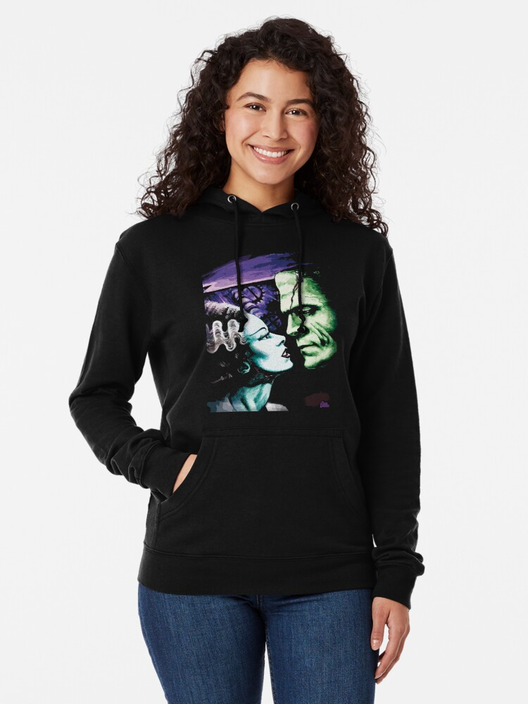 Alternate view of Bride & Frankie Monsters in Love Lightweight Hoodie