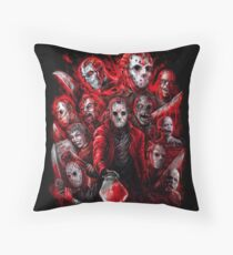 Jason Voorhees (Many faces of) Throw Pillow