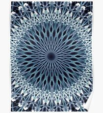 Cold mandala in gray and blue tones Poster