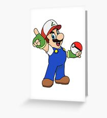 Super Mario x Ash Ketchum Greeting Card