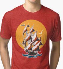 Sail Ship Colorful Emblem Tri-blend T-Shirt