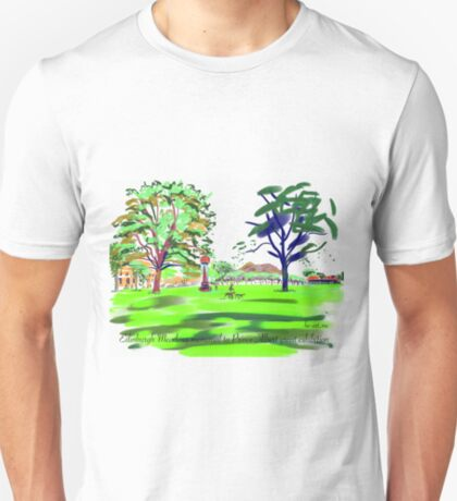 The Meadows cherry tree walk and Arthurs Seat distant T-Shirt