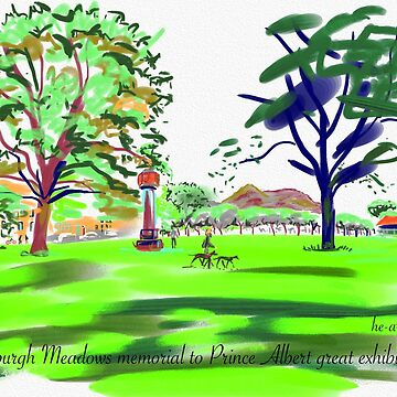The Meadows cherry tree walk and Arthurs Seat distant by imogenart
