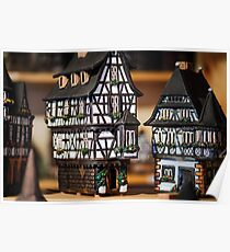 Traditional Christmas market with handmade souvenirs, Strasbourg, Alsace Poster