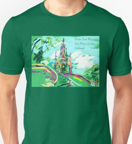 The Monument to Sir Walter Scott from Princes Gardens on a festival day T-Shirt