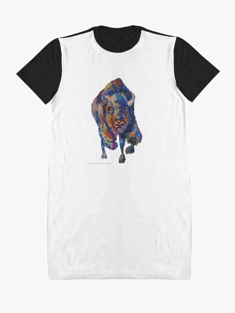 Alternate view of Charging Buffalo Watercolor Print Graphic T-Shirt Dress