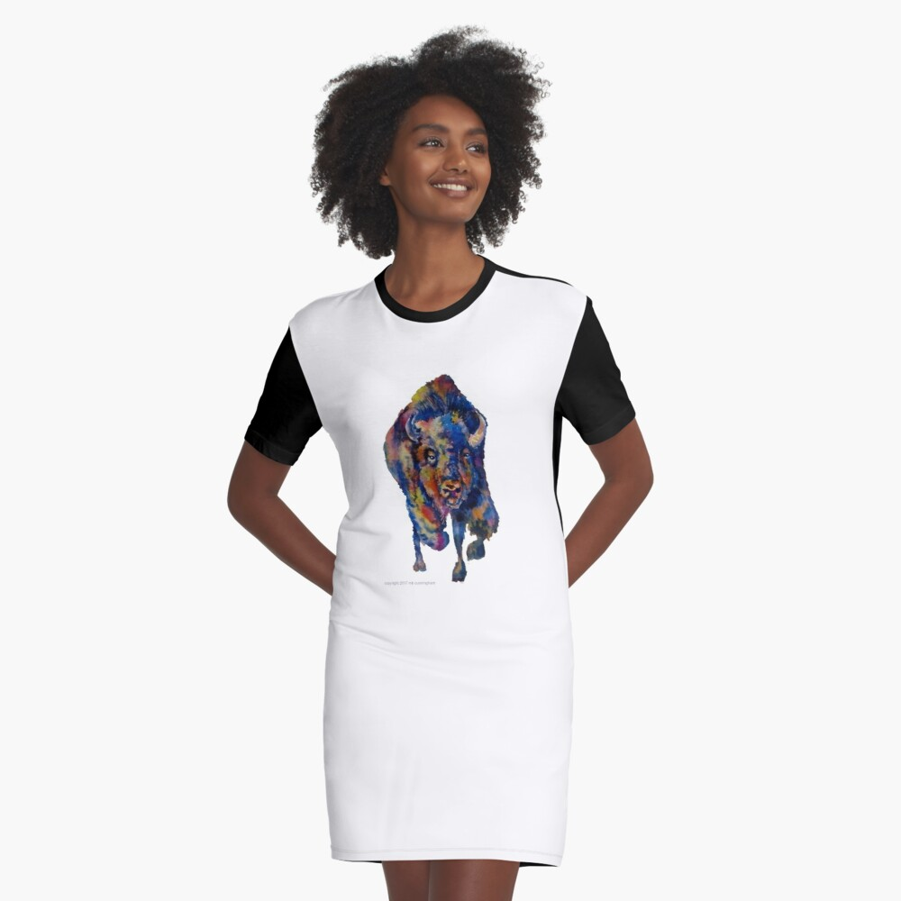 Charging Buffalo Watercolor Print Graphic T-Shirt Dress