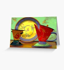 Still life: plate, pitcher, cup Greeting Card