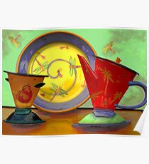 Still life: plate, pitcher, cup Poster