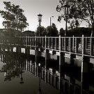 Reflection under the Boardwalk by Cheryl  Lunde