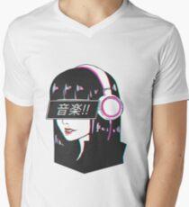 Music! - Sad Japanese Aesthetic Men's V-Neck T-Shirt