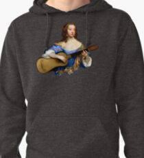 Baroque Woman Playing Guitar - around 1650 Pullover Hoodie