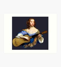 Baroque Woman Playing Guitar - around 1650 Art Print