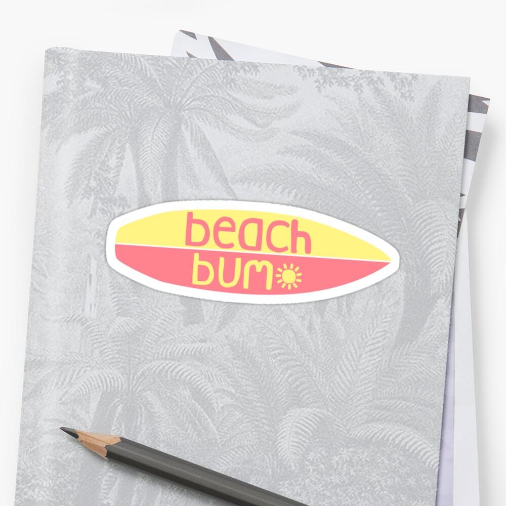 Beach Bum (rosa / amarillo) Pegatina
