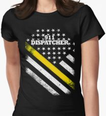 911 Dispatcher Thin Gold Line Flag Women's Fitted T-Shirt