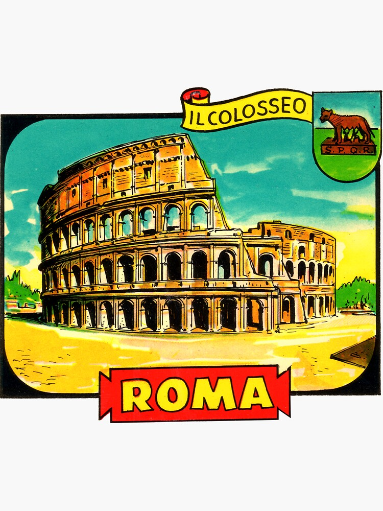 The Colosseum Rome Italy Vintage Travel Decal  by hilda74