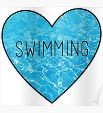 Swimming Ocean Heart Poster