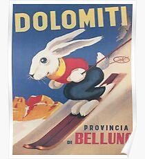 Dolomites, Italy, Ski Bunny Vintage Travel Ski Poster Poster