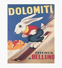 Dolomites, Italy, Ski Bunny Vintage Travel Ski Poster Photographic Print
