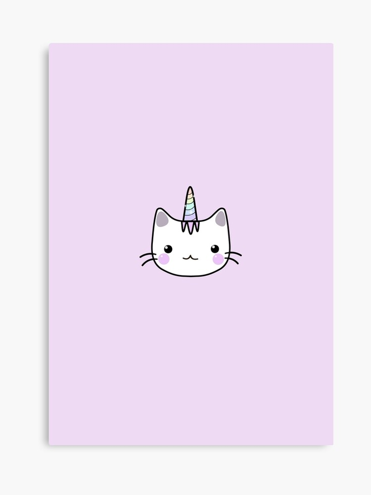 Cute Unicorn Cat Kawaii Pastel Pink Canvas Print
