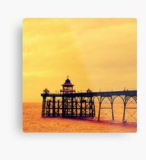 Clevedon Pier, seaside at sunset in Somerset  Metal Print
