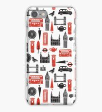 London Block Print - Black and Red by Andrea Lauren iPhone Case/Skin