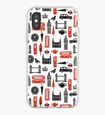 London Block Print - Black and Red by Andrea Lauren iPhone Case