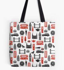 London Block Print - Black and Red by Andrea Lauren Tote Bag