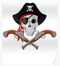 Pirate Skull With Guns  Poster