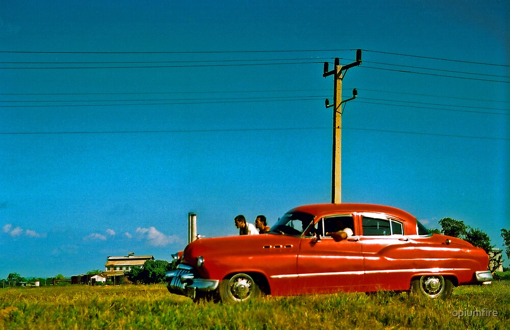 cuba red car scene by opiumfire