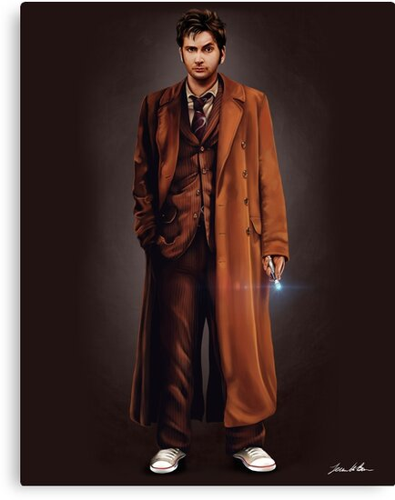 """""""Tenth Doctor Full Body Portrait"""" Canvas Prints by ..."""