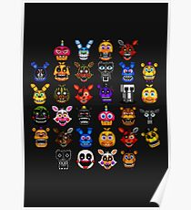 NEW - FNAF Multiple Animatronics - (Dec 2016) - Pixel art Poster