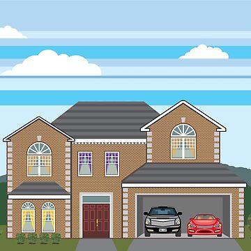 Brick home open garage by vectorworks51