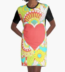 Colorful Flowers and Hearts Art Graphic T-Shirt Dress