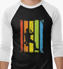 Rainbow Rock Climbing Distressed Men's Baseball ¾ T-Shirt