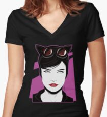 Cat Woman - Nagel Style Women's Fitted V-Neck T-Shirt