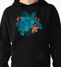 Sea Turtle with Flowers Pullover Hoodie