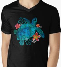 Sea Turtle with Flowers Men's V-Neck T-Shirt