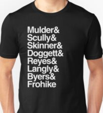 The X Files characters list Helvetica T-Shirt