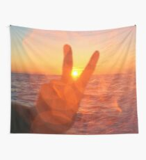 Sunset Peace Sign Wall Tapestry
