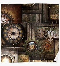 Steampunk, wonderful clockwork with gears Poster