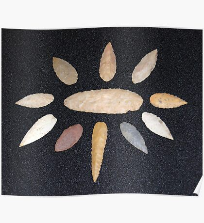 Nodena or Willow leaf Arrow Heads Poster