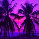 Pink Palm Trees by the Indian Ocean by Travelwithmyart