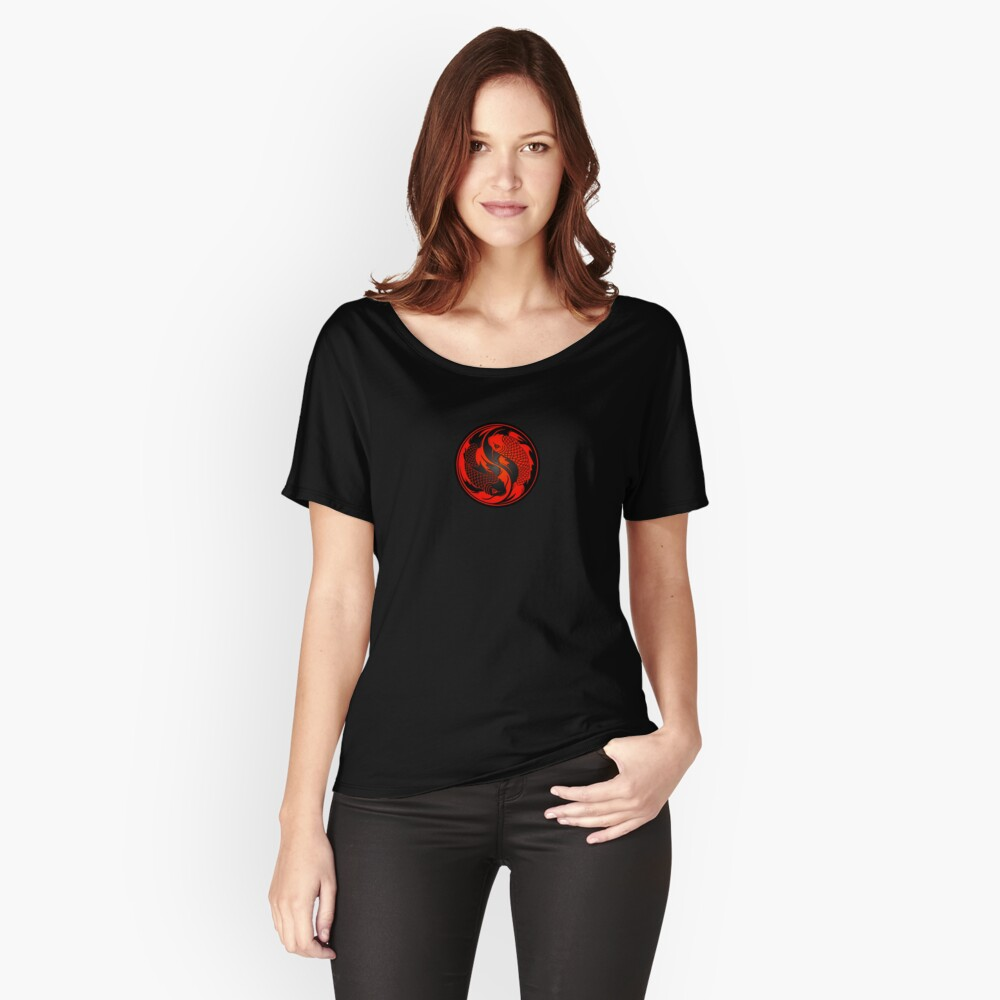 Red and Black Yin Yang Koi Fish Relaxed Fit T-Shirt