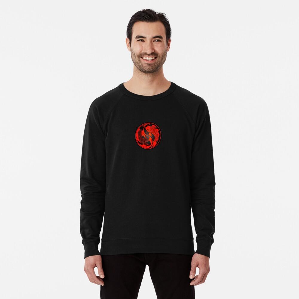 Red and Black Yin Yang Koi Fish Lightweight Sweatshirt