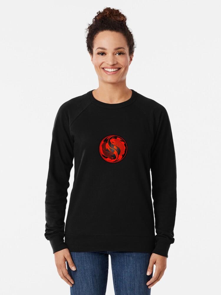Alternate view of Red and Black Yin Yang Koi Fish Lightweight Sweatshirt