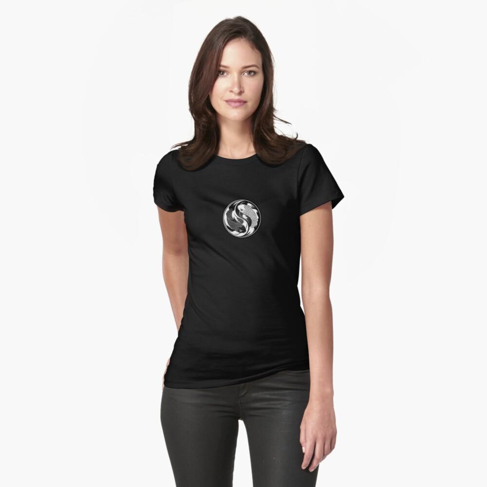 Schwarzweiss-Yin Yang Koi Fisch Tailliertes T-Shirt