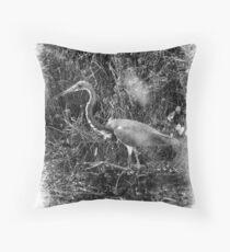 Penciled Heron Throw Pillow